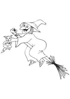 Coloriage d'une sorcière volant avec son balai avec son chat à la main
