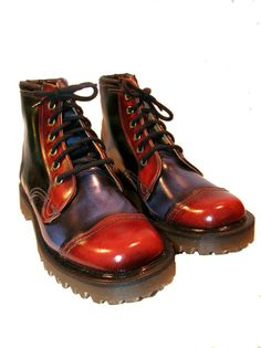 This is a pair of vintage John Fluevog tri color leather leather boots with Dr. Marten soles from the late 1980s. Made in England. Marked mens