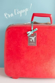 Bon Voyage!! red and blue luggage