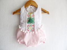 Mint /Pink Baby Girl Romper/ Boho Chic Sunsuit/ by VivaBohoKids