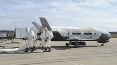 An unmanned US military space plane has landed at NASA's Kennedy Space Center following a mission lasting more than two years.