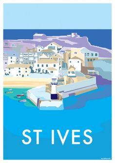 St Ives vintage-style seaside poster by Becky Bettesworth (www . Posters Uk, Railway Posters, Art Deco Posters, Poster Ads, Vintage Travel Posters, Poster Prints, Beach Posters, British Travel, British Seaside