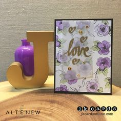 Stamp, Ink, Paper Challenge 85 – Love! Altenew Painted Flowers and SuperScript 2 Photopolymer, The Paper Cut 48lb Vellum, Pretty Pink Posh Gold Sequins.