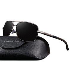 MERRY'S Driving Polarized Sunglasses for Men Square 45mm Sun glasses S8714 (Gray 65)