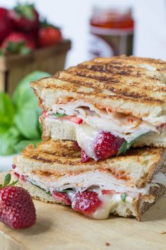 Strawberry, Brie, and Turkey Panini with fresh basil and red pepper jelly