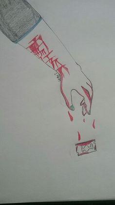 Cutting drawing--My drawing   Cutting, arm, drawing, blood, art
