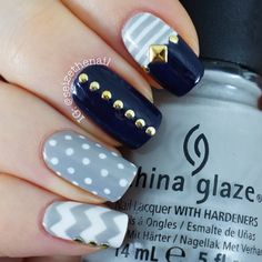 Grey, navy blue and white. Chevron, dots, stripes and studs