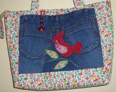 Bolsa em jeans, patchwork e patchaplique. Eliane David.