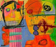 BINGO CIRCUS Hoke Outsider RAW Folk Abstract Art Brut Painting Original Grafitti
