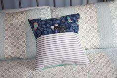 Birds with Stripes Pillow with a Pocket Corner Sofa Pillows, Sofa Pillow Covers, Throw Pillows, Handmade Pillows, Decorative Pillows, Polka Dot Chair, Reading Pillow, Fabric Combinations, Navy Fabric