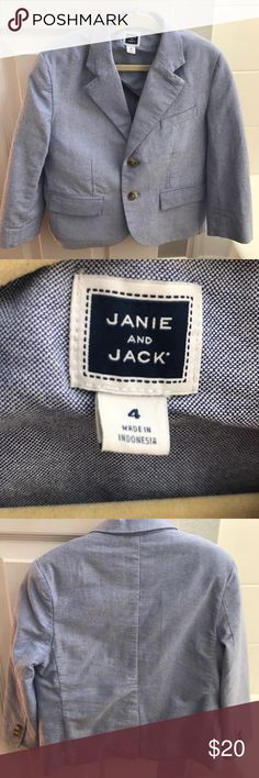 Boys' Janie and Jack light blue blazer Only worn a few times (church and nice dinners). No blemishes. All buttons securely fastened. Reasonable offers only please. Janie and Jack Jackets & Coats Blazers