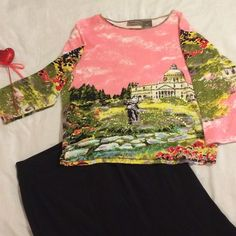 """Jane Ashley Spring Garden Top Beautiful panorama scene on this like new top.  Beaded and sequined areas give sparkle.  No stains, holes, snags or flaws. Bust 19"""", length 21"""", sleeves 16.5"""". Price is firm. Jane Ashley Tops Blouses"""