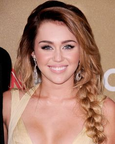 Love how Miley Cyrus's braid is so thick and loose.