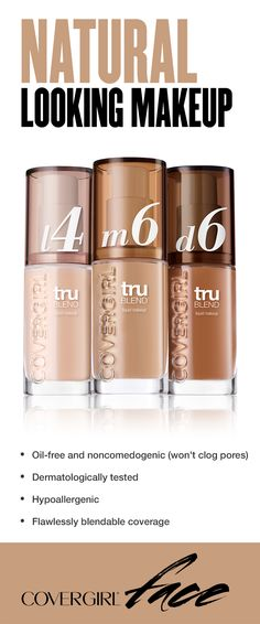The trick to natural looking foundation? The right formula and blending. Try a lightweight, buildable formula that lets you blend until your complexion looks flawless, like truBLEND Liquid Makeup. • Oil-free and noncomedogenic (won't clog pores) • Dermatologically tested • Hypoallergenic • Flawlessly blendable coverage