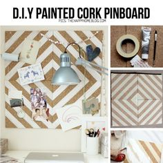 Painted cork pinboard from TheHappyHomeBlog.com, featured in line-up of awesome half-painted D.I.Y Ideas on ScrapHacker.com