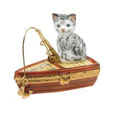 Cat Fishing on Boat Limoges Box | Limoges Boxes | Handpainted Porcelain…