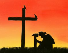 Fireman kneeling at the cross canvas painting