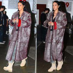 Rihanna wearing army jungle combat boots with panama sole