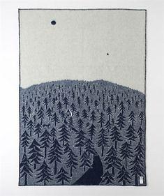 Klippan House In The Forest Wool Blanket Blue