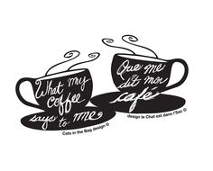 The logo for What my #coffee says to me, Que me dit mon cafe. Cheers.
