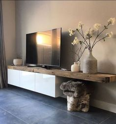Salon salle à manger Tv Stand Box, Home Living Room, Living Room Decor, Living Area, Corner Tv Unit, Salon Cosy, Scandi Home, Room Paint, Front Rooms
