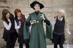 The Students look worried.   McGonagall cosplayed by Dragon_Soul Cosplay  Find her here: https://www.facebook.com/DragonSoulCosplay/  Credit for the photo goes to Romana Gruber Photography. They can be found here: https://www.facebook.com/RomanaGruberPhotography/?fref=ts