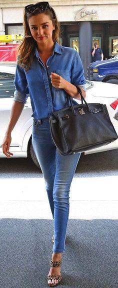 Miranda Kerr with Miu Miu heels and an Hermes Bag.