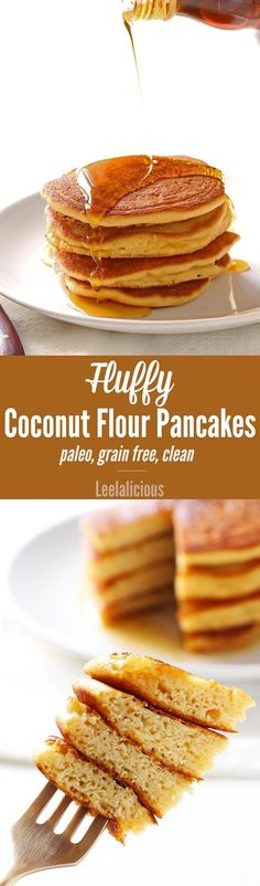 This clean eating recipe for fluffy coconut flour pancakes makes a delicious breakfast treat that is gluten free, grain free and paleo friendly. (diet food for breakfast clean eating) Paleo Pancakes Coconut Flour, Coconut Flour Recipes, Paleo Recipes, Low Carb Recipes, Whole Food Recipes, Coconut Milk, Almond Flour, Clean Recipes, Gluten Free Breakfasts