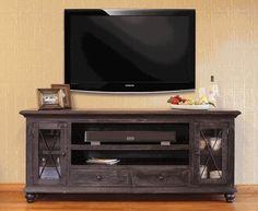 "Rustic Vintage Black 76"" TV Stand"