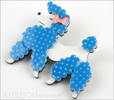 Erstwilder Brooch Pin Paige the Prancing Poodle Blue White Side