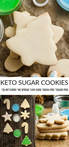 Keto Sugar Cookies - the perfect soft & buttery low carb Christmas cut-out cookies for the holiday baking season. Best of all, healthier classic cookies Sugar Free Cookies, Sugar Free Desserts, Cut Out Cookies, Sugar Free Recipes, Keto Cookies, Keto Recipes, Dessert Recipes, Healthy Sugar Cookies, Diabetic Cookies
