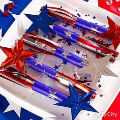 "Fun favor idea: candy ""rockets"" with jumbo Smarties inside! party favors, flag, juli parti, candi, parti citi, rocket party, parti idea"