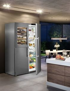 Refrigerator Freezer, French Door Refrigerator, Stainless Steel Appliances, Kitchen Appliances, Küchen Design, House Design, Freestanding Fridge, Storage Center, Houses