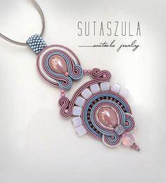 Pastel necklace Powder Pink blue soutache necklace pale pink