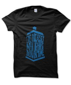 Doctor Who Did I Mention It Also Travels In Time t-shirt makes a perfect gift! Available in a variety of colours and sizes at an unbeatable price. Doctor Who Shirts, Man Pad, Time T, Tardis, Mens Tops, T Shirt, How To Wear, Travel, Fashion