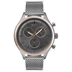Hugo Boss Companion Stainless Steel Mesh Bracelet Watch In Grey Sunrise Mesh Bracelet, Bracelet Cuir, Bracelet Watch, Hugo Boss Homme, Hugo Boss Man, Stainless Steel Mesh, Stainless Steel Bracelet, Hugo Boss Watches, Men's Watches