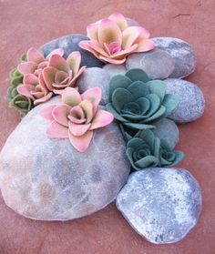 Felted rock and succulent pillow by miasole