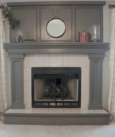 22 Trendy Ideas Living Room Decor With Fireplace Paint Colors Benjamin Moore Painted Fireplace Mantels, Grey Fireplace, Paint Fireplace, Brick Fireplace Makeover, Wood Mantels, Small Fireplace, Fireplace Surrounds, Fireplace Design, Cottage Fireplace