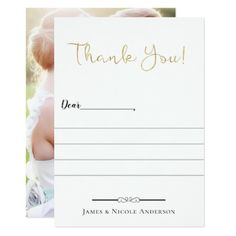 Thin Gold Modern Script Full Photo Thank You Card - script gifts template templates diy customize personalize special