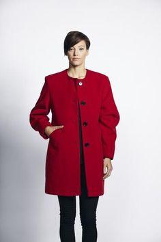 £110 Liquorish Red Button Up Formal Coat - New Women's Coat | Liquorish Clothing www.liquorishonline.com