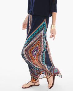 Chico's Women's Diamond Multi-Print Maxi Skirt, Blue Multi, Size: