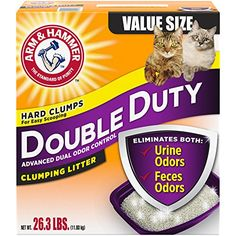 Arm & Hammer Double Duty Litter, 26.3 Lbs (Packaging May Vary)  Formula destroys urine and feces odors instantly and helps keep your home smelling fresh and clean  Powerful moisture activated baking soda crystals boosted with odor neutralizers destroy odors on Contact  Rock-solid clumps let you remove the source of odors easily  99% dust free  Low tracking