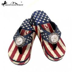 Montana West® American Flag Fourth of July Wedge Flip Flops, Stars (US01-S089)