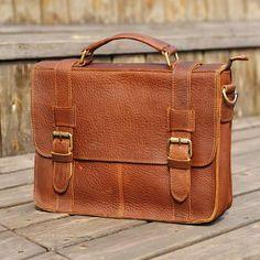 "Vintage Handmade Leather Briefcase / Satchel / 11"" MacBook 12"" Laptop Bag"