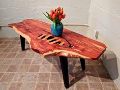 Eastern Red Cedar Bench Made From Four Inch Thick Slab And Limbs For The Legs No Screws Or Nails With Old School Methods Boiled Linsee