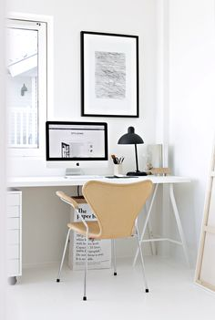 Great home office with leather 'Ant' chair by Arne Jacobsen for Fritz Hansen