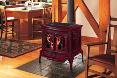 red wood stove