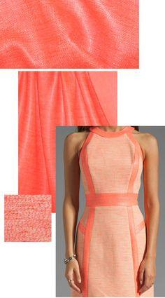 Mi11y laminated neon coral-orange cotton suiting