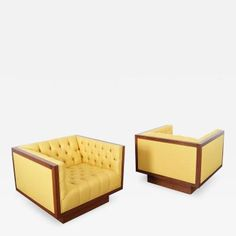 Vintage Tufted Lounge Chairs by Milo Baughman by Milo  Baughman