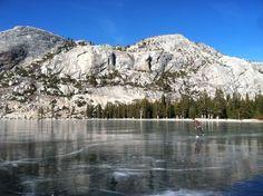 Ice skating on Lake Tenaya in Yosemite National Park, California. Photo by Orlando Soria.